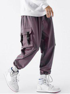 Strap Buckle Flap Pocket Beam Feet Cargo Pants - Chestnut Red Xs