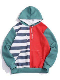 Striped Contrast Print Kangaroo Pocket Hoodie - Ruby Red 3xl