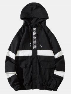 Colorblock Panel Letter Flap Pocket Hooded Jacket - Black 3xl