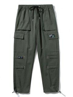 Pantaloni Cargo Con Applicazione E Anello - Grigio Scuro L