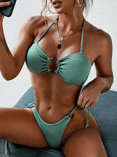 ZAFUL Ring Textured Lace-up Tied Bikini Swimwear - Light Green L