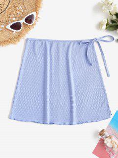 ZAFUL Textured Side Tie Lettuce-trim Skirt - Light Blue S