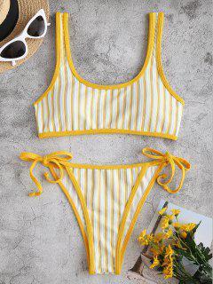 ZAFUL Striped Ribbed Contrast Binding Tie Side Bikini Swimwear - Yellow S