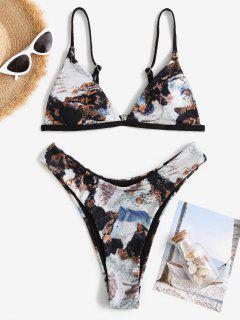 ZAFUL Ribbed Abstract Print Brazilian Bikini Swimwear - Black M