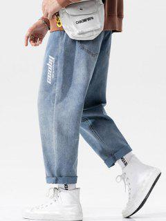 Jeans De Linha Directa Com Estilo Simples - Azul Claro M