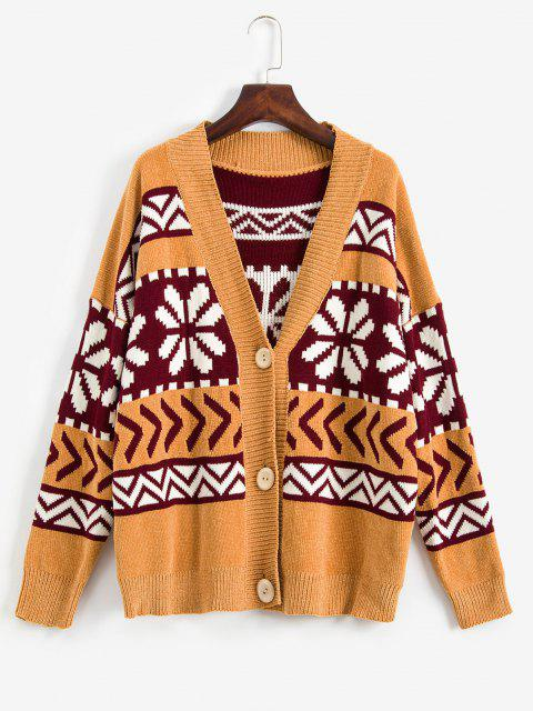 new ZAFUL Snowflake Buttoned Chenille Knit Christmas Cardigan - MULTI L Mobile