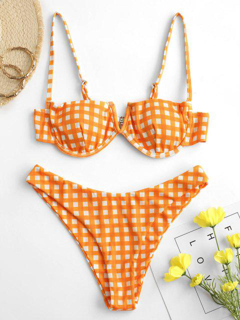 online ZAFUL Charm Holding Plaid V Wired Bikini - DARK ORANGE S Mobile
