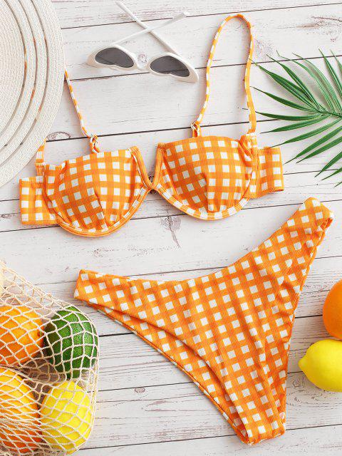 ZAFUL Charme Karierte Bikini mit V-Kabel - Dunkles Orange M Mobile