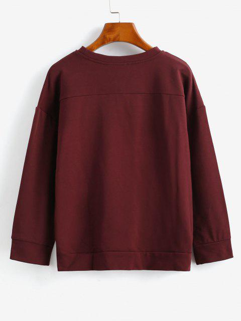 buy ZAFUL Drop Shoulder High Low Button Sweatshirt - RED WINE M Mobile
