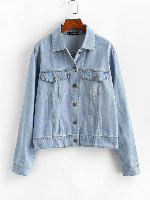 chic Embroidered Button Up Jean Jacket - JEANS BLUE M Mobile