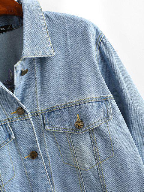 Gestickte Jean Jacke mit Knopf - Jeans Blau L Mobile
