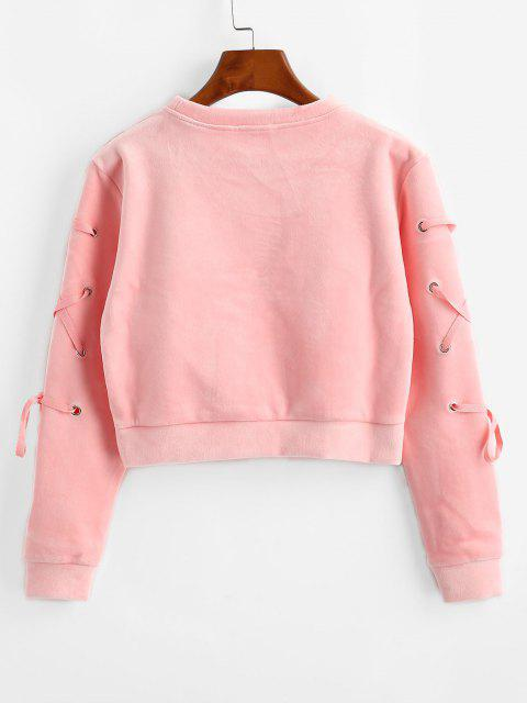 chic Velvet Lace Up Sweatshirt - PINK L Mobile