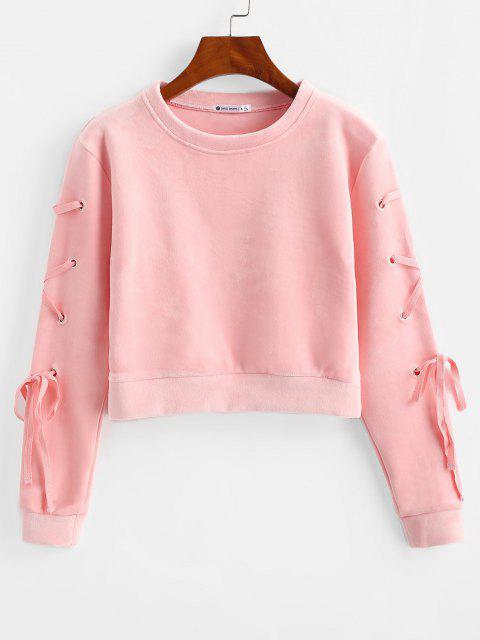 fancy Velvet Lace Up Sweatshirt - PINK M Mobile