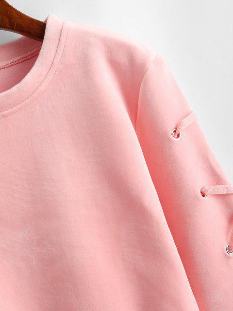 unique Velvet Lace Up Sweatshirt - PINK S Mobile