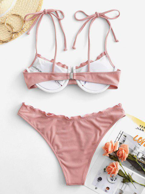 new ZAFUL Ribbed Tie Underwired Bikini Swimwear - FLAMINGO PINK M Mobile