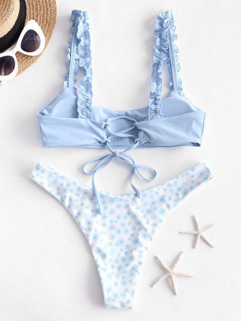 fashion ZAFUL Lettuce Ditsy Floral Lace Up Bikini Swimwear - SEA BLUE L Mobile