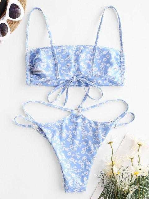 new ZAFUL Ditsy Print O Ring Tanga Bikini Swimwear - LIGHT BLUE M Mobile