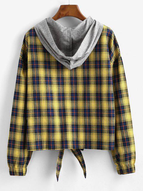 best Tartan Waist Tie Hoodie - MULTI S Mobile