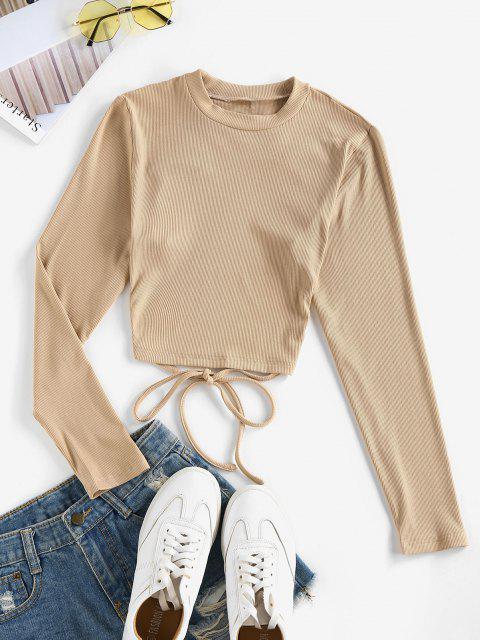 chic ZAFUL Self Tie Open Back Knit Tee - LIGHT KHAKI L Mobile