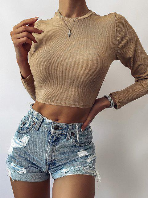 women ZAFUL Self Tie Open Back Knit Tee - LIGHT KHAKI XL Mobile