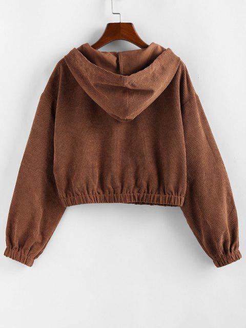 sale ZAFUL Corduroy Drop Shoulder Pocket Hooded Jacket - CHESTNUT M Mobile
