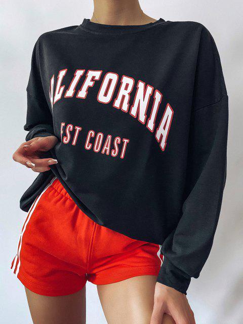 fancy Graphic Drop Shoulder Boyfriend Tunic Sweatshirt - BLACK M Mobile