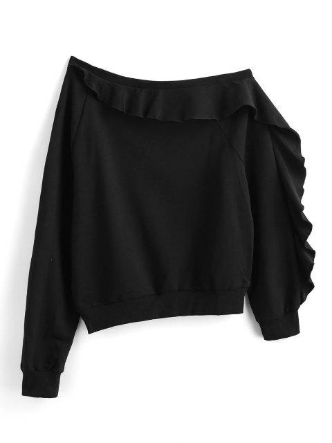 online ZAFUL Ruffle Skew Neck Sweatshirt - BLACK L Mobile