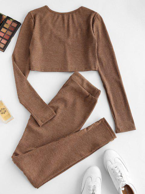 unique Ribbed Heathered Knit Two Piece Set - COFFEE M Mobile