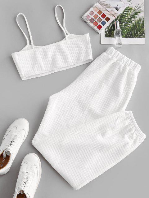 buy ZAFUL Cami Top and Pants Two Piece Set - WHITE S Mobile