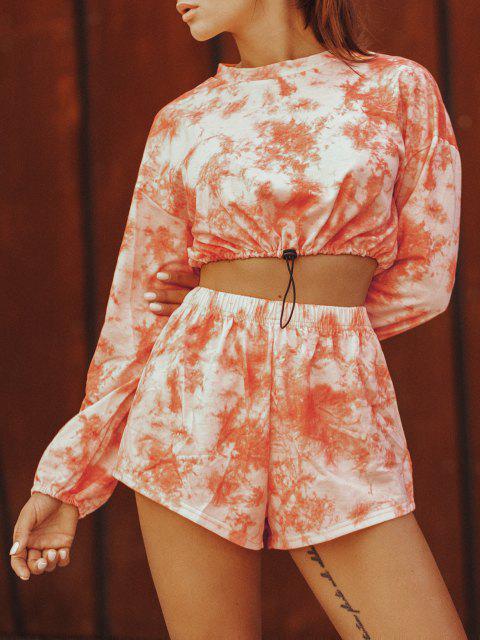 sale Tie Dye Toggle Drawstring Two Piece Shorts Set - DARK ORANGE S Mobile