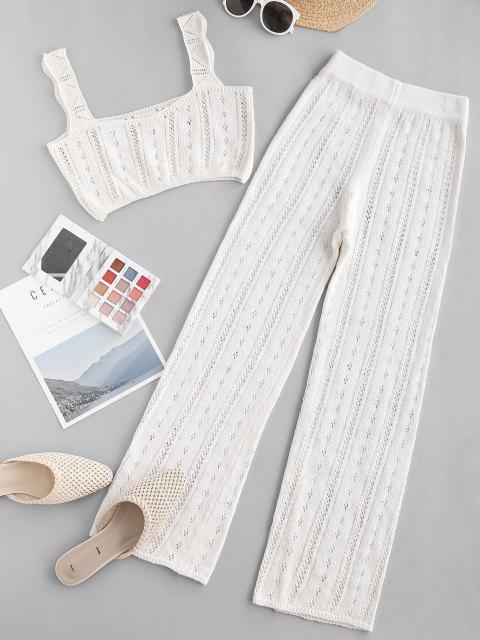 womens Pointelle Knit Square Neck Two Piece Pants Set - WHITE M Mobile