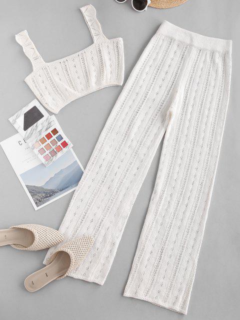 fashion Pointelle Knit Square Neck Two Piece Pants Set - WHITE L Mobile