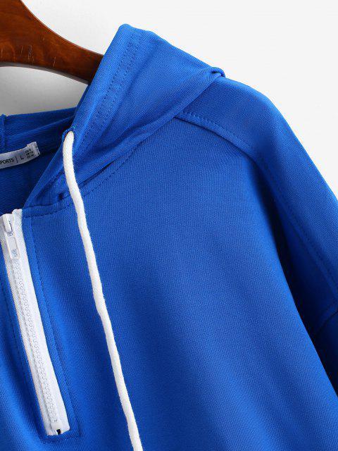 fancy ZAFUL Raglan Sleeve Half Zip Pocket Hoodie - BLUE S Mobile