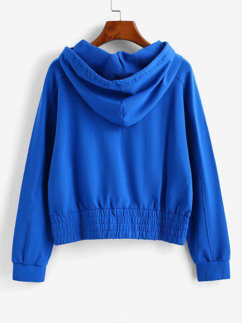 fashion ZAFUL Raglan Sleeve Half Zip Pocket Hoodie - BLUE L Mobile