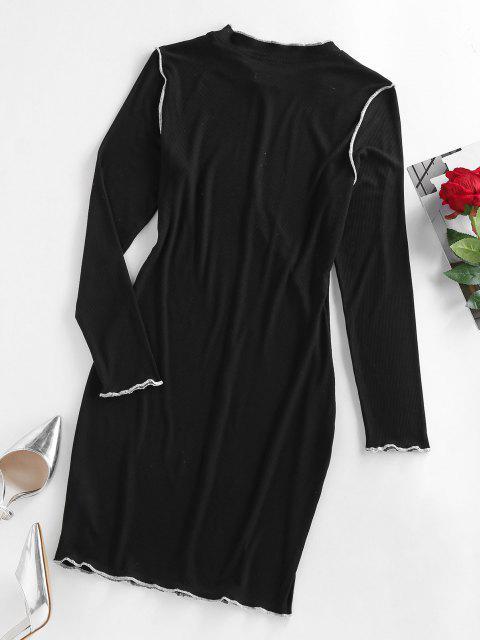 sale ZAFUL Ribbed Topstitching Bodycon Dress - BLACK M Mobile