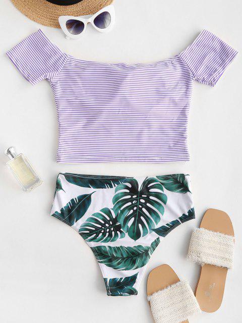 hot Off Shoulder Striped Leaves Print Two Piece Swimwear - LIGHT PURPLE M Mobile