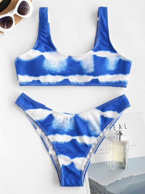 Gerippter Krawattenfärbender Hochgeschnittener Bikini Badebekleidung - Blau S Mobile