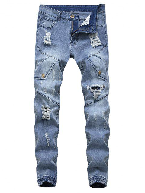 outfits Destroy Wash Scratch Patchwork Beam Feet Jeans - LIGHT BLUE 32 Mobile