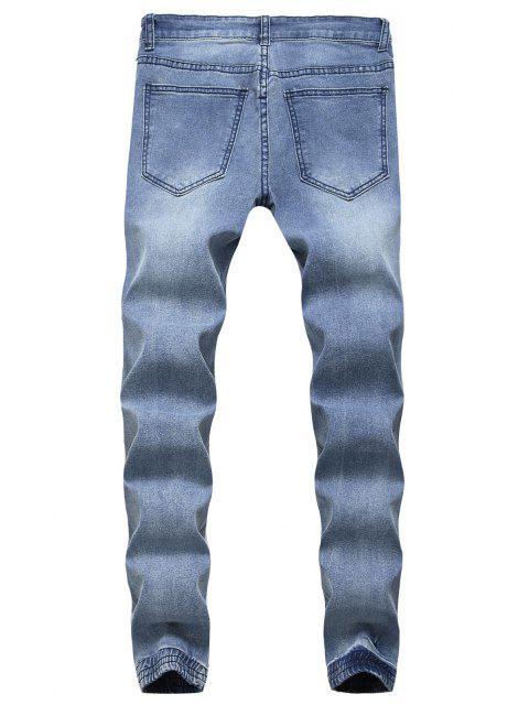 fancy Destroy Wash Scratch Patchwork Beam Feet Jeans - LIGHT BLUE 34 Mobile