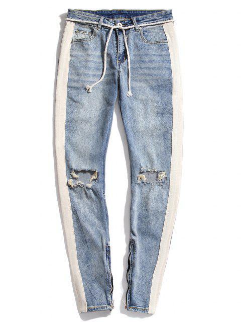Destroy Wash Colorblock Patchwork Zipper Hem Jeans - أزرق فاتح XS Mobile