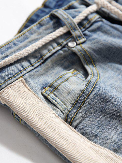 women Destroy Wash Colorblock Patchwork Zipper Hem Jeans - LIGHT BLUE XS Mobile