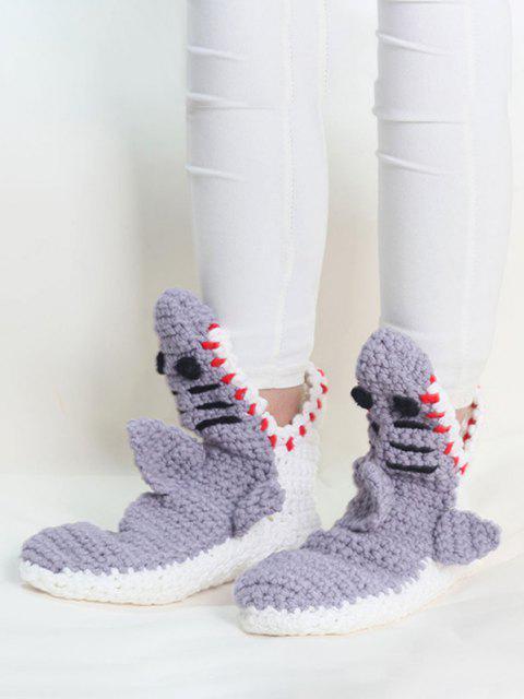 shops Hand Knitted Shark Shape Floor Socks - GRAY  Mobile