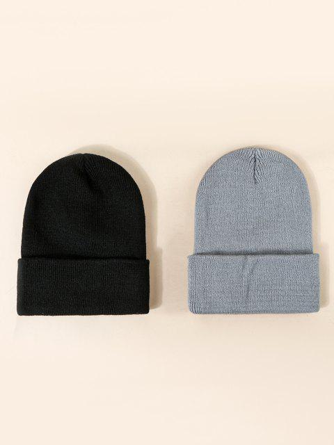 2Pcs Brief Knitted Solid Hat Set - متعددة-A  Mobile