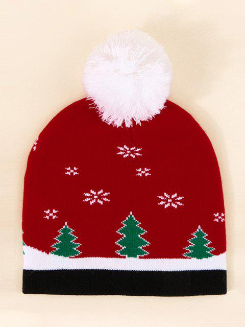 outfit Christmas Elk Pattern Pom Pom Hat - LAVA RED  Mobile