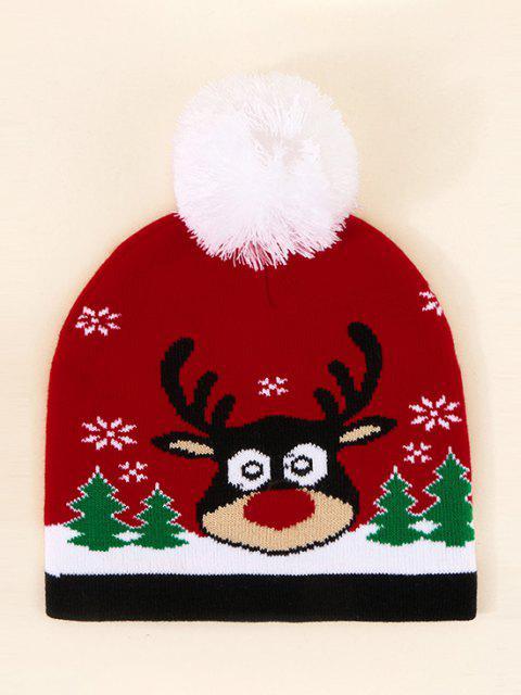 Chapeau de Noël avec Pompon Motifd'Élan - Rouge Lave  Mobile