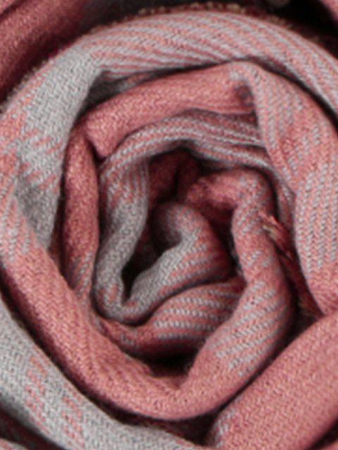 womens Reversible Plaid Pattern Fringe Scarf - ROSE  Mobile