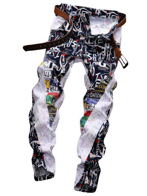 fashion Letter Graphic Patchwork Zip Fly Denim Pants - WHITE 34 Mobile