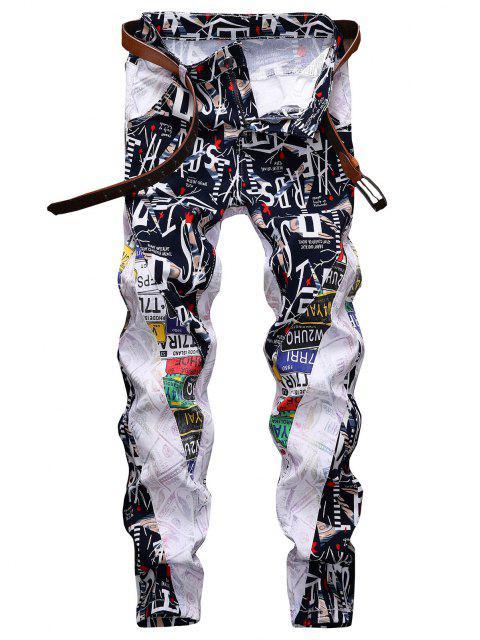 Pantaloni in Denim Grafici con Cerniera - Bianca 34 Mobile