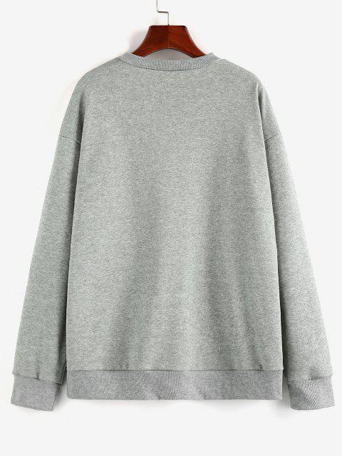 best ZAFUL Christmas Santa Claus Slogan Drop Shoulder Sweatshirt - LIGHT GRAY S Mobile