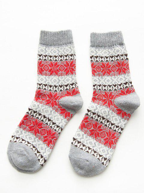 lady 5 Pairs Snowflake Pattern Socks Set - MULTI  Mobile